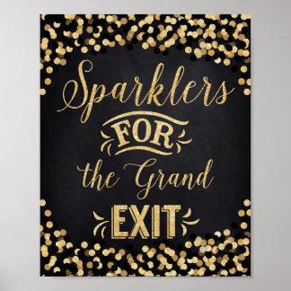 Sparklers do Ouro do preto do poster do casamento