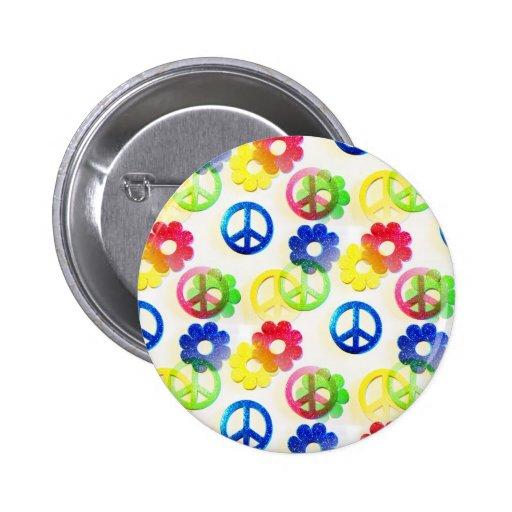 Sparkles Groovy de flower power dos sinais de paz  Botons