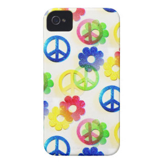 Sparkles Groovy de flower power dos sinais de paz Capinha iPhone 4