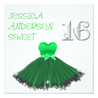 Sparkles pretos verdes brancos do vestido do DOCE Convite Quadrado 13.35 X 13.35cm
