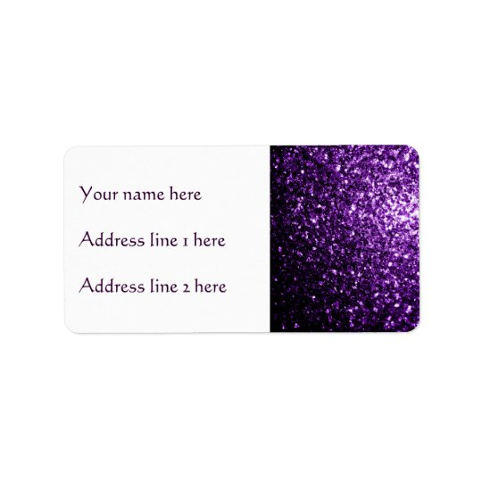 Sparkles roxos escuros bonitos do brilho etiqueta de endereço