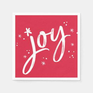 Sparkles vermelhos do branco do roteiro da alegria guardanapo de papel