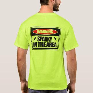 Sparky de advertência no t-shirt da área camiseta