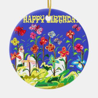 Special do feliz aniversario ornamento de cerâmica redondo
