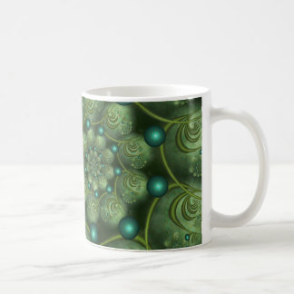 Spiral and Spheres Green Fractal Caneca