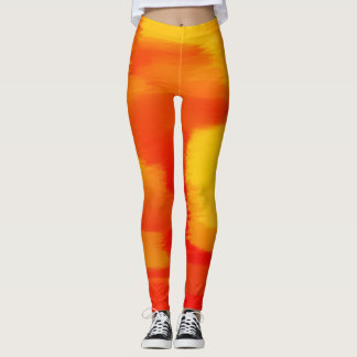 Splatter alaranjado da pintura leggings