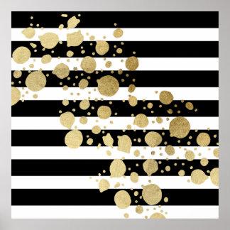 Splatter da pintura do ouro do falso em listras pôster