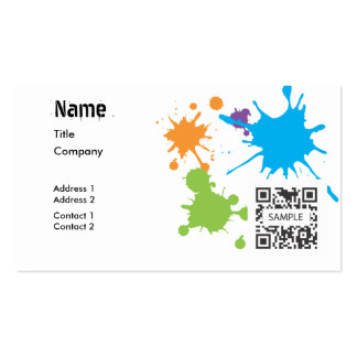 Splatter genérico da pintura do modelo de cartão d cartao de visita