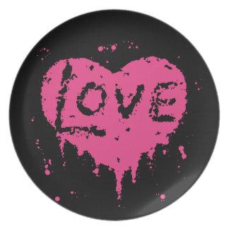 Splatters cor-de-rosa do coração louça de jantar