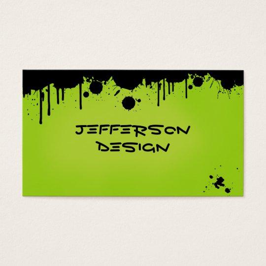 Splatters verdes de néon da pintura cartão de visitas