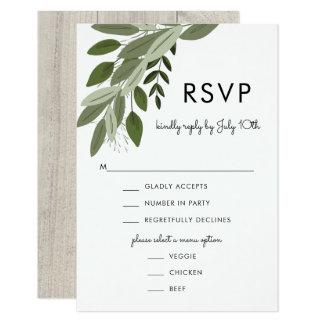 Sprigs rústicos do casamento, cartão de RSVP