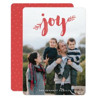 Sprigs vermelhos do cartão com fotos do feriado do