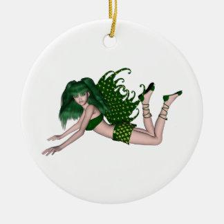 Sprite 2 do dia de St Patrick - fada verde Ornamento De Cerâmica Redondo