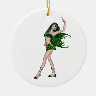 Sprite 4 do dia de St Patrick - fada verde Ornamento De Cerâmica Redondo