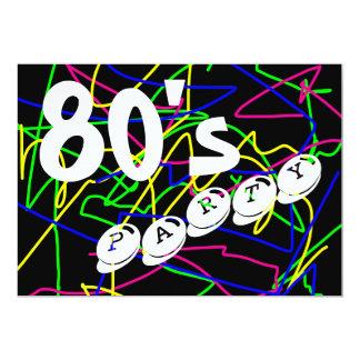 Squiggles loucos & coloridos do partido do anos 80 convite 12.7 x 17.78cm