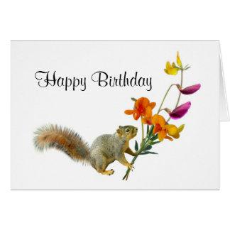 Squirrel com o cartão de aniversário dos