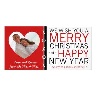 Sr. bonito e Sra. Abraço e Natal da foto dos beijo Cartões Com Foto