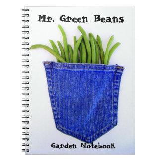 Sr. caderno do jardim dos feijões verdes