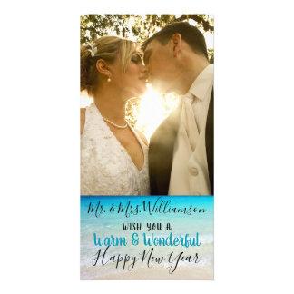 Sr. casado tropical Sra. cartão com fotos do Natal