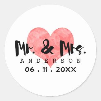 Sr. do coração & Sra. carimbados Casamento Data Adesivo