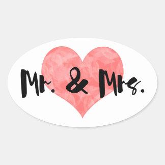 Sr. do coração & Sra. rústicos carimbados Adesivo Oval