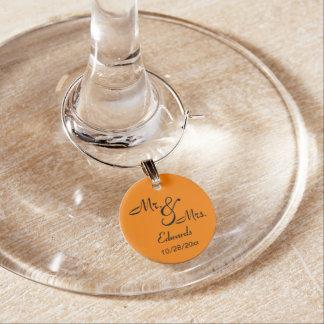 Sr. e Sra. alaranjados Lembrança Enfeite De Taças De Vinho