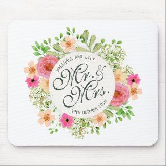 Sr. e Sra. bonitos Floral Casamento | Mousepad