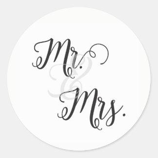 Sr. e Sra. Casamento Etiqueta preto e branco