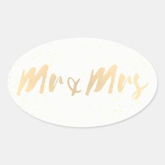 Sr. e Sra. da caligrafia do ouro Adesivo Oval