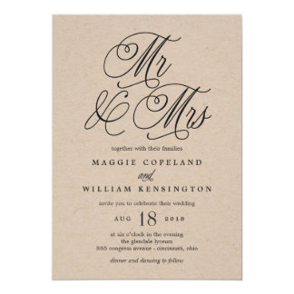 Sr. e Sra. Elegante Casamento Convite Kraft