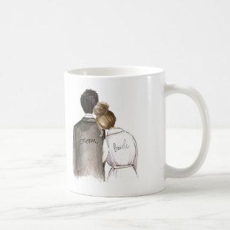 Sr. e Sra. futuros homem do cabelo preto e noiva Caneca De Café
