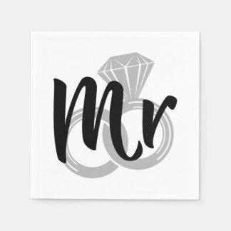 Sr. noivo da aliança de casamento guardanapo de papel