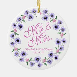 Sr. & Sra. Aguarela Floral Casamento Ornamento