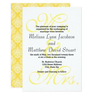 Sr. & Sra. Amarelo - convite do casamento 3x5