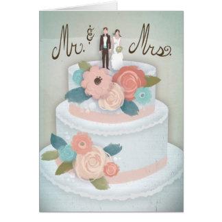 Sr. & Sra. cartão do bolo de casamento