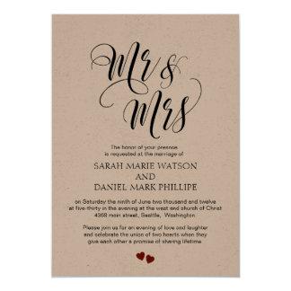 Sr. & Sra. Casamento Tipografia Convite Kraft
