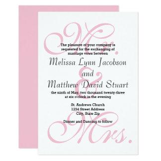 Sr. & Sra. Cor-de-rosa - convite do casamento 3x5