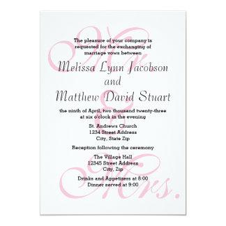Sr. & Sra. Cor-de-rosa - convite do casamento & da