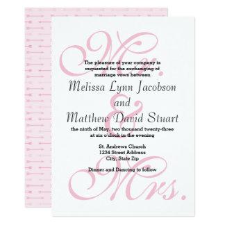 Sr. & Sra. Cor-de-rosa Seta - convite do casamento