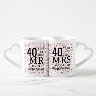 Sr. Sra. Direito do aniversário dos confetes 40th Conjunto De Caneca De Café
