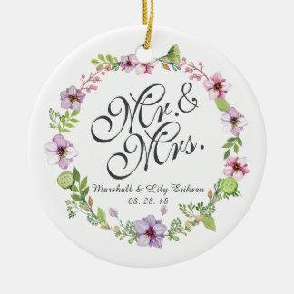 Sr. & Sra. Elegante Floral Casamento Ornamento