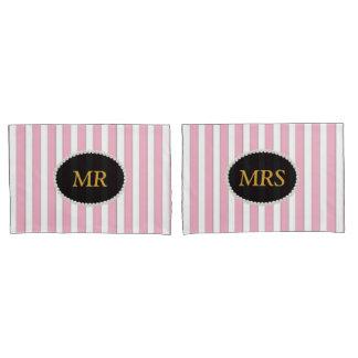 SR. & SRA. monograma listrado cor-de-rosa elegante