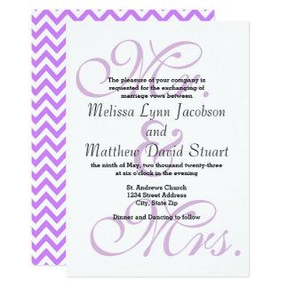 Sr. & Sra. Roxo Chevron - convite do casamento
