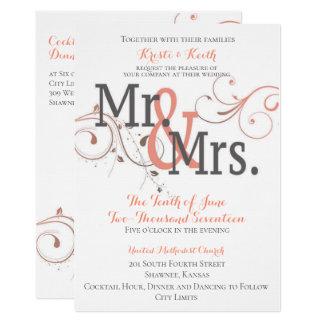 Sr. & Sra. tornando-se convite do casamento de 5x7