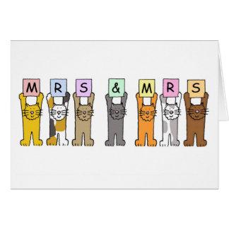 Sra. e Sra. felicitações lésbicas do casamento Cartão Comemorativo
