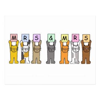 Sra. e Sra. felicitações lésbicas do casamento Cartão Postal