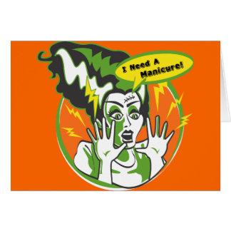 Sra. Frankenstein Necessidade um Manicure Cartão Comemorativo