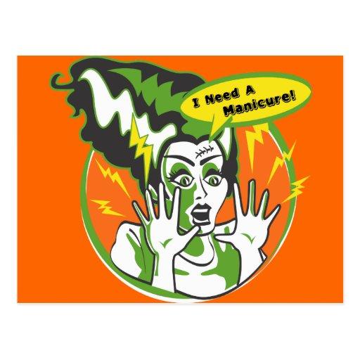 Sra. Frankenstein Necessidade um Manicure Cartoes Postais