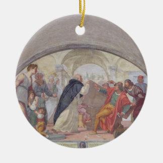 St Anthony que expulsa os jogadores (fresco) Ornamento De Cerâmica Redondo