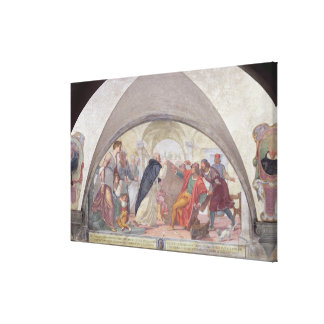 St Anthony que expulsa os jogadores (fresco) Impressão De Canvas Envolvida